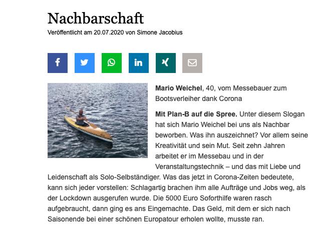 Mario Weichel Messebau zum Bootsverleih Tagesspiegel RBB Radio Berlin Köpenick Corona neuer Job Nachbarschaft